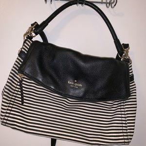 Kate Spade b/w striped leather shoulder bag